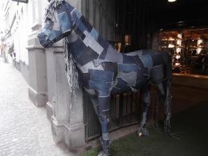 Denim Patchwork Horse, Bruges