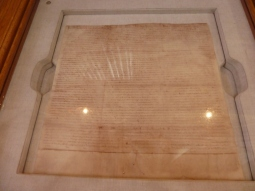 Copy of the Magna Carta held in the Cathedral