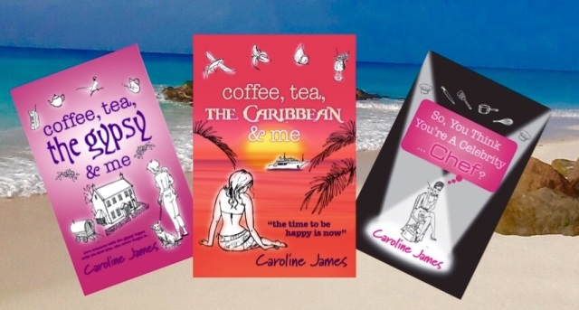 CJ Books on beach background
