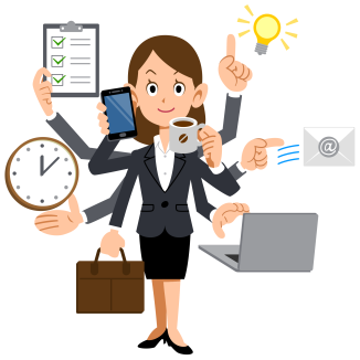 woman-cartoon-busy-png